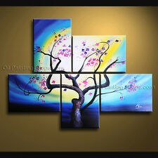 Pentaptych Contemporary Wall Art Floral Plum Blossom Decoration Ideas