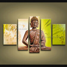 Pentaptych Feng Shui Zen Art Contemporary Painting Buddha Oil On Canvas