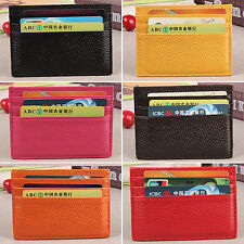 Mens Womens Leather Slim Thin Credit Card Holder Mini Purse ID Case Wallet Plain