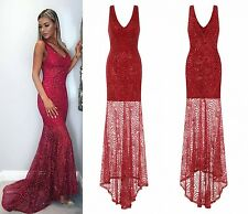SEXY BERRY RED PLUNGE SHEER GLIMMER SPARKLE MAXI FISHTAIL PARTY PROM DRESS 6-16