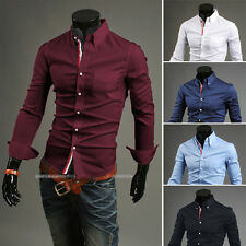 Hot Mens Dress Shirt Luxury Long Sleeve Slim Fit Stylish Casual Shirts Mens Tops