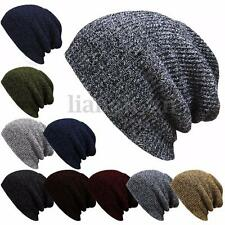 Mens Womens Knit Beanie Baggy Cap Slouchy Oversized Stripe Warm Winter Hats AU