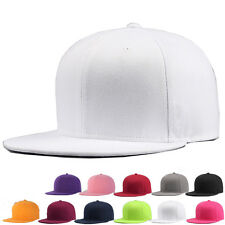 Premium Mens Snapback Cap Solid Plaid Baseball Hip-Hop Era Fitted Flat Peak Hat