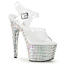 """Pleaser 7"""" ankle strap stoned  stripper shoes"""