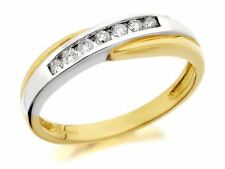 F.Hinds Womens Jewellery 9ct Two Colour Gold Diamond Half Eternity Ring - 15pts