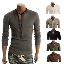 Fashion Mens Button Front Long Sleeve T-Shirt V-neck Casual Slim Fit Shirts w6