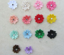 Ribbon 50PCS Flower HOT Bead Craft/Trim with Satin NEW Crystal Appliques DIY