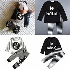2pcs New Kids Babys Boys Girls Striped Sleeve Top +  Pants Clothes Outfits & Set