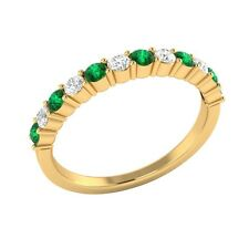 0.45 ct Real Emerald & Certified Diamond Solid Gold Half Eternity Wedding Band