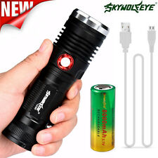 ZOOM CREE XM-L2 U2 LED 3 Mode USB Rechargeable Flashlight Torch + 26650 Battery