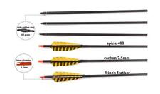 Archery Carbon Feather Arrows 4Inch Turkey Feather Fletching  Pure Carbon Shaft