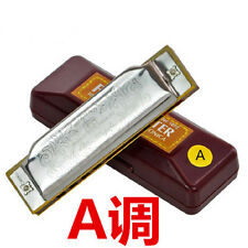 Suzuki 10 hole Blues Harmonica Silver Color Diatonic Harp Master 6 Key
