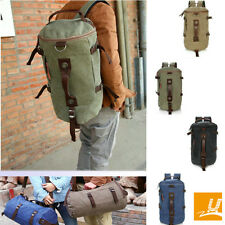 Canvas Duffel Cylinder Luggage Bag Travel Gym Backpack Bucket  Shoulder Handbag