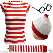 NEW NK FANCY DRESS LADIES GIRLS RED AND WHITE STRIPES TSHIRT HAT GLASSES OUTFIT