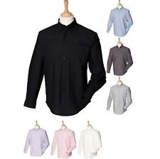 Mens Henbury Long Sleeve Classic Oxford Anti Wrinkle Formal Cotton Rich Shirt