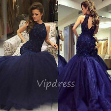 Mermaid Evening Dresses Beading Prom Halter Neck Prom Party Pageant Gowns Custom