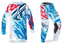NEW FLY RACING ADULT MENS KINETIC RELAPSE RED WHITE BLUE MX JERSEY + PANTS COMBO