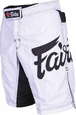FAIRTEX MMA BOARDSHORTS-AB1-WHITE-100% POLYESTER-GREAT FOR ALL SPORT/CASUAL WEAR