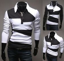 Luxury Fashion Mens Long Sleeve Button Front Slim Fit Casual Polo Shirt T-Shirt