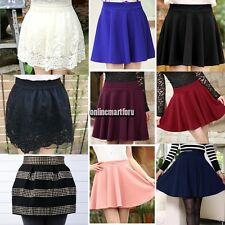 New Women Candy Color Stretch Waist Plain Skater Flared Pleated Mini Skirt ONMF