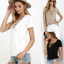 New Fashion Womens Loose Pullover Short Sleeve T Shirt  Cotton Blend Tops Blouse