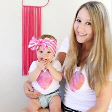 Mother & Daughter Kids Girls Love Heart Family Clothes T-Shirt Tee Tops Blouse