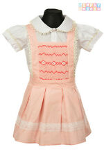 Girls Hand Smocked Pinafore Dress Set Embroidered Pink Romany Baby Outfit