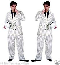MEN'S GANGSTER COSTUME WITH WHITE HAT 4 PIECE 1920'S FANCY DRESS MAFIA MOBSTER
