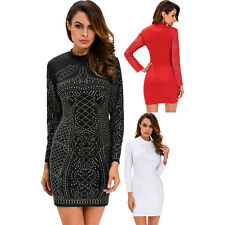 Women Studded Long Sleeves Dress Sleeve Stage Dance Wear Brief Cute Club Summer