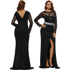 Women Black Sheer Lace Long Sleeve Front Slit Prom Dress Stage Sexy