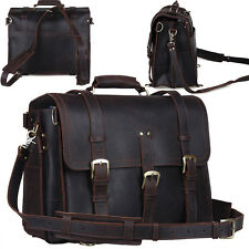 "Men's Vintage Genuine Leather Backpack 17"" Briefcase Laptop Tote Luggage Handbag"