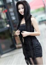 New Genuine Mink Fur Scarf Cape Stole Shawl Wraps Hat Knitted Women Coat PZX2367