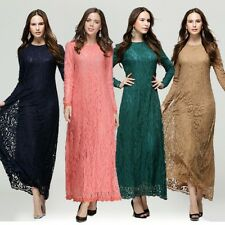 Full Lace Muslim Kaftan Islamic Long Sleeve Maxi Dress Arab Jilbab Abaya Dress