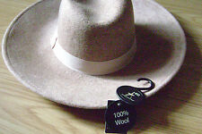 100 % Wool Hat Fedora Wide Brim Fall/Winter Hat One Size Camel or Navy/Dark Blue