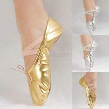 Women Girl Gold/Silver Ballet Pointe Gymnastics Sequins Leather Dance Shoes Hot
