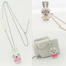 1Pcs Crystal Pendant Rabbit Jewelry Chain Girls Enamel Necklace Pop Rhinestone