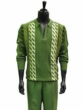 Stacy Adams Mens Green Knit Polo Collar Dress Casual  2Pc Set Walking Suit