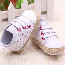 Toddler Baby Girl Floral Lace Up Soft Sole Crib Shoes Sneakers Newborn to 12 M