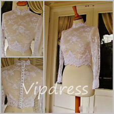 Wedding Jackets Long Sleeve Lace Appliques Bridal Jackets High Neck Custom 2017