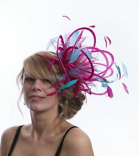 Hot Pink & Turquoise Fascinator Hat/any satin/highlight feather colour Medium