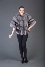 Luxury gift Silver Fox Fur coat jacket full skin elegant cozy fashion Handmade