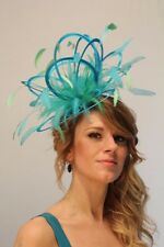 Turquoise & Emerald Green Fascinator Hat/Choose any satin/feather colour