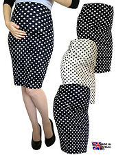 PREGNANCY DOT STRETCH PENCIL BODYCON MIDI SKIRT OVER BUMP PREGNANCY UK MADE