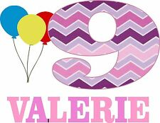 Personalized Pink Chevron T shirt with number and Ballons All sizes available