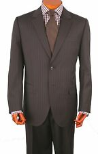 Mens Suit 2 Button 2 Side Vent 100% Wool  Pant,Flat Front.Col.Brown Striped 214