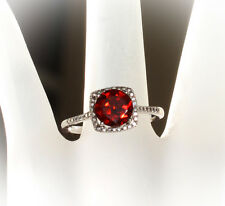 Sterling Silver Mozambique Garnet & Diamond Halo Birthstone or Engagement Ring
