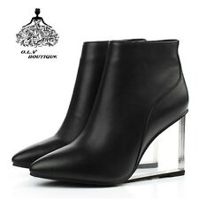 Boots Shoes Womens Ankle High Wedge Platform Leather Booties Heels New Fashion