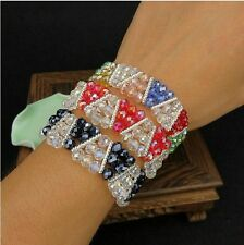 Elastic Multi Crystal Bracelet 3 Rows 6mm chain Beads Cuff Charm Fashion Jewelry