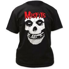 Men's Misfits Red Skull Logo T-Shirt Black Old School Punk Rock Band Music