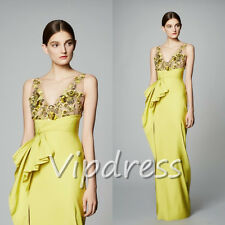 Evening Dresses V-neck Lace Appliques Bridesmaid Formal Long Gowns Floor Length